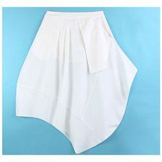 White Linen Asymmetric Skirt
