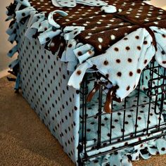 FLEECE Dog Crate Cover... Hand KNOTTED
