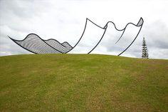 """Neil Dawson's """"Horizons"""" - welded steel sculpture on North Auckland hilltop (1992)"""