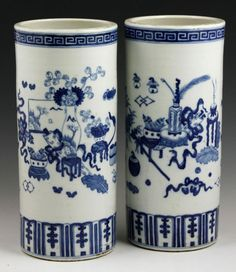 Chinese 19th C. Pair of Blue and White Vases : Lot 7200