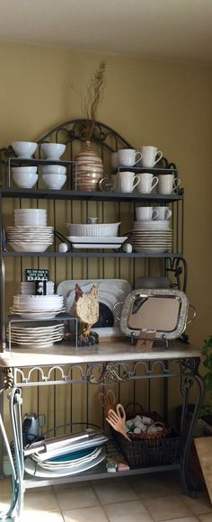 Don T Care About Any Of The Other But I Do Like How They Used Stackable Shelves To Add More Vertical Storage French Country Bakers Rack Display