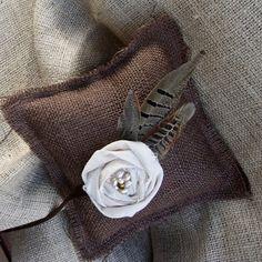 Burlap Ring Pillow with Pheasant Feathers Cornflower Wedding, Wedding Bouquets, Wedding Flowers, Sister Wedding, Wedding Stuff, Pheasant Feathers, Ring Pillow, Wedding Designs, Wedding Ideas