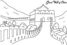 China Coloring Pages Colouring Pages, Coloring Pages For Kids, Coloring Sheets, Chinese Wall, China Art, China China, Cultural Studies, Great Wall Of China, Ancient China
