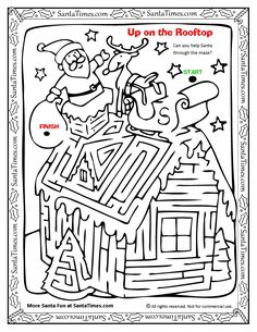 Up on the Rooftop with Santa Maze and coloring page