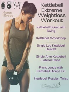 This kettlebell workout for women is perfect for slim down and toning up! #fitness #kettlebell