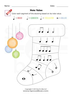 Music Worksheets – Holidays – Note Values Music Math, Music Classroom, Music Games, Music Teachers, Music Lessons For Kids, Music For Kids, Piano Lessons, Music Theory Worksheets, Music Activities