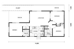 Three Bedroom Home House Floor Plans, Kitchen And Bath, Deck, Layout, Homes, How To Plan, Bedroom, Home Plants, Houses