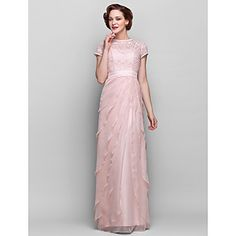 Sheath/Column Jewel Floor-length Chiffon And Lace Mother of the Bride Dress (722130) – USD $ 139.99