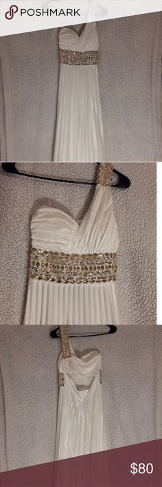 One-Shoulder White Gown With Gold Beading Long White Roman Gown with Gold Beadi. One-Shoulder White Gown With Gold Beading Long White Roman Gown with Gold Beading, worn once and has faint stains on the bottom hem. My Michelle Dresses Prom Prom Outfits, Prom Dresses, Dress Prom, Girls Dresses, Formal Dresses, Chest Freezer Organization, Kids Fashion, Fashion Tips, Fashion Design