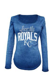 Kansas City Royals Womens Love My Royals Blue Scoop Neck Tee
