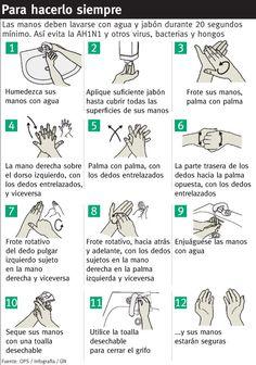Correcto lavado de manos (prevención AH1N1) #infografia #infographic #health