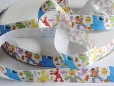"""Sesame Street Grosgrain Ribbon 5 yards of 7/8"""" Big Bird Cookie Monster Elmo & Oscar the Grouch and More Ribbon Birthday Party Favor Ties by HouseofHairDecor on Etsy"""