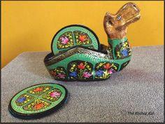 Multi colored Papier Mache Coaster Set available at The Koshur Kul