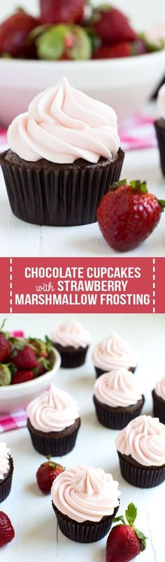 Chocolate Cupcakes with Strawberry Marshmallow Frosting are a classic recipe that everyone will love! Made with fresh strawberries, whipped marshmallow buttercream and delectable chocolate cake.