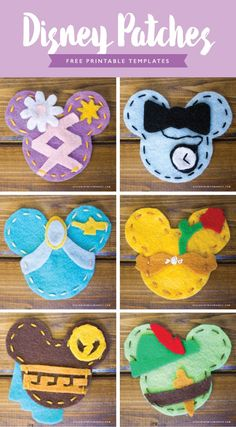 DIY Disney Patches – Designs By Miss Mandee. Make your own adorable Disney patches to accessorize the next time you go to Disneyland. Download the FREE printable template and follow the tutorial. Designs include: Rapunzel, Alice, Jasmine, Belle, Hercules, and Peter Pan.