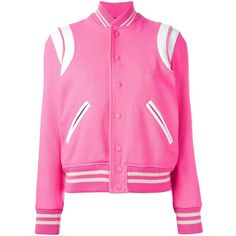 Saint Laurent Teddy Jacket ($1,445) ❤ liked on Polyvore featuring outerwear, jackets, pink, pink varsity jacket, varsity jacket, letterman jackets, pink letterman jacket and varsity-style bomber jacket
