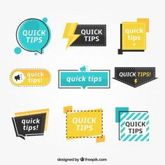 Colorful set of tip labels with flat design Vector Web Design, Label Design, Flat Design, Vector Design, Book Design, Layout Design, Web Layout, Banner Design Inspiration, Design Plano