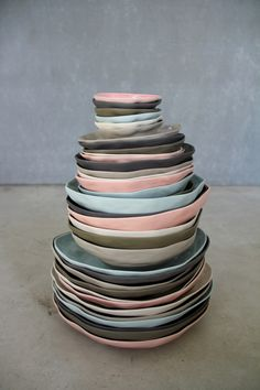 Plates in gray and pastel  adoseofsimple.wordpress.com