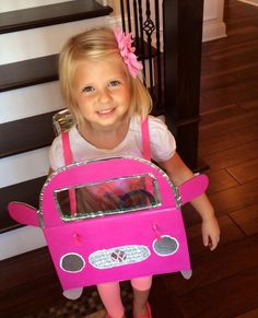 Box car day at school. She could only drive a pink car!