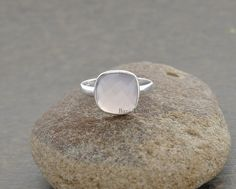 Gemstone Ring, Pink Chalcedony 10mm Cushion Faceted Gemstone Silver Ring Jewelry.