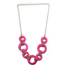 Fashion Resin Circle Design Pendant  Alloy Chain Women Ladies Jewelry Necklace