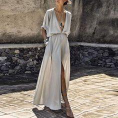 V-Neck Elastic Waist Plain Maxi Dress – hellocloth