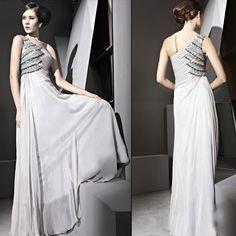 Designer Silver Gray Grey Bejeweled Chiffon One Shoulder Evening Gowns SKU-122449