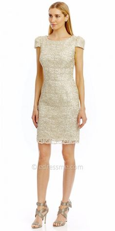 bdf3217fc Chain Embroidered Cap Sleeve Cocktail Dress by Nicole Miller New York