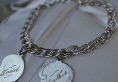 """VINTAGE Signed ELCO Sterling Silver Double Link 925 Charm Bracelet 7"""" inch 15 g  #Elco #CharmSilhouette"""