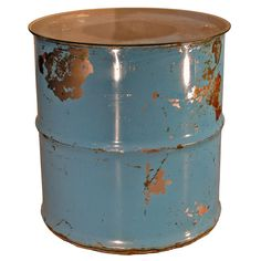 Groovystuff Moonshine Barrel End Table with Glass Top Electric Blue - Durable Outdoor End Tables, Patio Table, Small Tables, Make Up Brush, Drum Side Table, Side Tables, Barrel Table, Steel Drum, Lowes Home Improvements