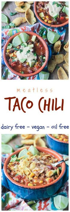 Taco Chili an easy high protein high fiber full of flavor meatless dish Perfect for a weeknight meal entertaining or game day Load it up with your favorite toppings and. Vegan Dinner Recipes, Delicious Vegan Recipes, Dairy Free Recipes, Mexican Food Recipes, Whole Food Recipes, Healthy Recipes, Protein Recipes, Snacks Recipes, Organic Recipes