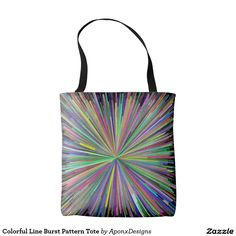 Shop Colorful Line Burst Pattern Tote created by AponxDesigns. Tote Pattern, Color Patterns, Reusable Tote Bags, Colorful, Colour Pattern