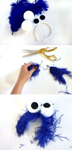 Make your own cookie monster headband - super easy last minute costume idea!