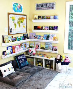 How to Set Up a Reading Nook Kids Love Kids Reading Space Rain Gutter Bookshelf Reading Nook Classroom Homeschool Room Kids Reading corner kids area