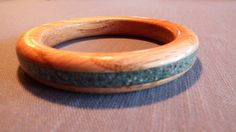 Turquiose Inlayed Wooden Ladies Bracelet by MikesWoodWorx on Etsy, $30.00