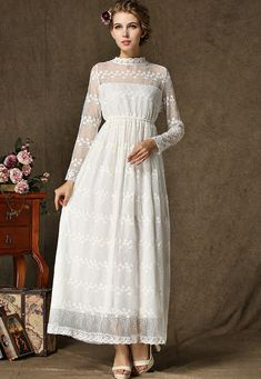 Vestido Maxi encaje manga larga-blanco 26.06