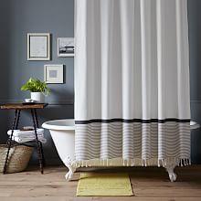 Stripe Border Shower Curtain - Stone White/Platinum
