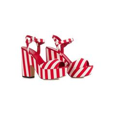 Sandal In White And Red Colour Le Silla In Cruise, Striped Fabric. ($567) ❤ liked on Polyvore featuring shoes, sandals, white block heel shoes, white block-heel sandals, white sandals, le silla shoes and red block heel shoes