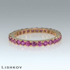 Eternity ring - Pink sapphire ring - Promise ring - GemStone ring - Stacking ring - 14k gold ring - Wedding band - Rose gold ring