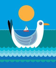 #seagull #seaside #illustration #pattern #design by Suzanne Carpenter @illustrator_eye