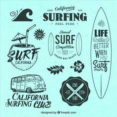 Selección de insignias con temática surf Vector Gratis