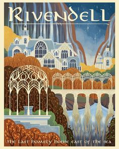 I will never be over these books. Here is the poster for Hobbiton Possibly Gondor next? Or Lorien? Tolkien Books, Jrr Tolkien, Architecture Temple, Midle Earth, Buch Design, O Hobbit, Lord Of The Rings, Lotr, Travel Posters