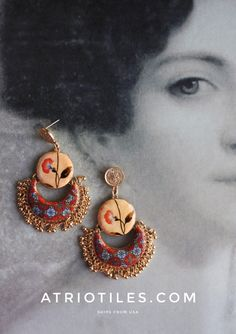 Portugal Antique Azulejo Tile and Fresco Replica  - CHANDELIER EARRINGS -  from Válega and Palace of Queluz - Woman Hand Romantic Valentines