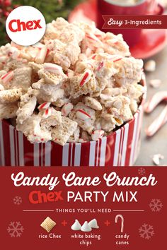 30 minutes · VegetarianGluten free · Serves simple snack mix recipe plays on seasonal peppermint flavours and is sure to be a favourite sweet at your holiday parties 1 bag Vanilla baking chips, white snacks 6 cups Rice Chex… Holiday Snacks, Christmas Party Food, Christmas Cooking, Christmas Desserts, Christmas Treats, Holiday Recipes, Holiday Parties, Christmas Candy, Christmas Foods