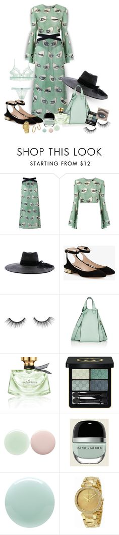 """""""Greenery No.1: Bette Davis Eyes"""" by onesweetthing ❤ liked on Polyvore featuring ADRIANA DEGREAS, Maison Michel, Nicholas Kirkwood, tarte, Loewe, Bulgari, Gucci, Nails Inc., Marc Jacobs and Eve Snow"""