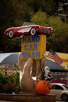 Studio City Hand Car Wash, Los Angeles, California by TooMuchFire Advertising Signs, Vintage Advertisements, Hand Car Wash, Station Essence, Vintage Neon Signs, Roadside Attractions, Old Signs, Studio City, Googie
