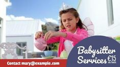 A creative babysitter ads video template. A background of a girl dressed as a princess. A purple text box displaying babysitting services per hour.