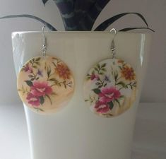 Items similar to Floral Disc Earrings, Dangle Earrings, Boho Hippie Jewellery on Etsy Love Flowers, Yellow Flowers, Mother Of Pearl Earrings, Dangle Earrings, Dangles, Wire, Unique Jewelry, Handmade Gifts, Fresh