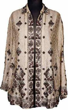1920s Art Deco Beaded Jacket Silk Woven Wool