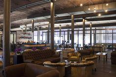 Industrial Interiors @ Titanic Hotel Liverpool // Chairs by Style Matters, Knutsford Industrial & Rustic Interior, Industrial Interiors, Rustic Interiors, Restaurant Lighting, Restaurant Design, Bespoke Furniture, Furniture Design, Cafe Interior, Interior Design